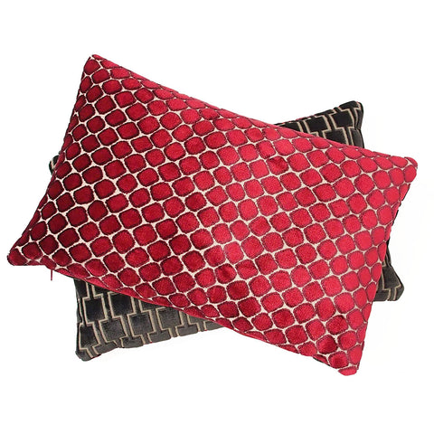 Bakerloo Magnet Grey and Fenelle Rose Velvet Cushion