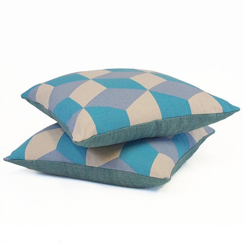 Cubes Turquoise On Natural Cushion