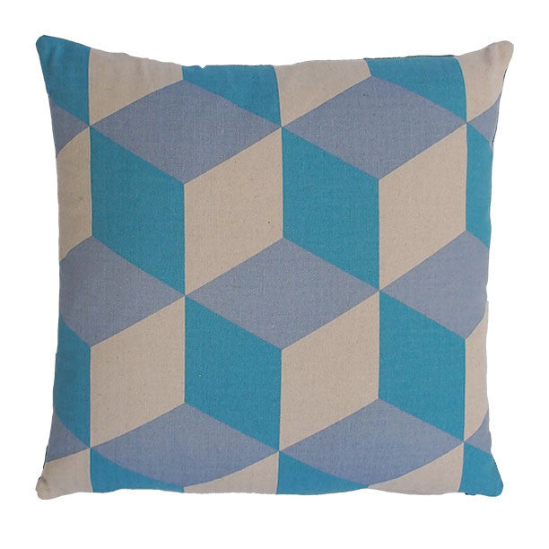 Cubes Turquoise On Natural Cushion - Available at GalapagosDesigns.com