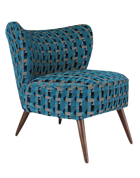 New Bartholomew Vintage Style Cocktail Chair in Piccadilly Kingfisher Blue