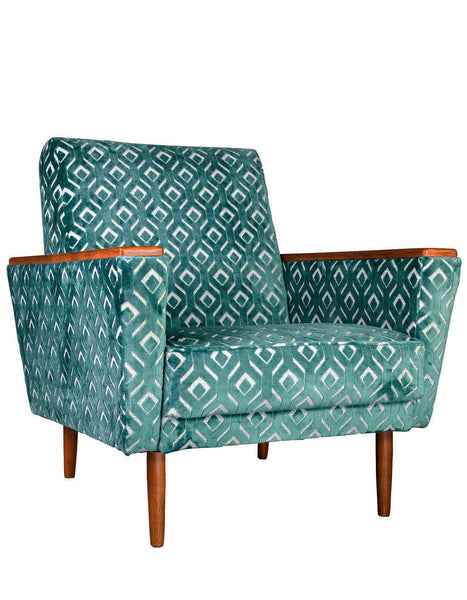 New Santiago Major Vintage Style Armchair in Chareau Azure Velvet