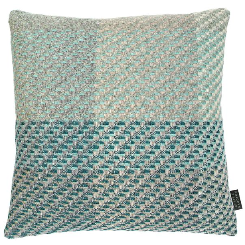 Turquoise Cushion by Claire Gaudion, made from 50% Lambswool, 25% Silk, 25% Superfine Merino - available at Galapagosdesigns.com