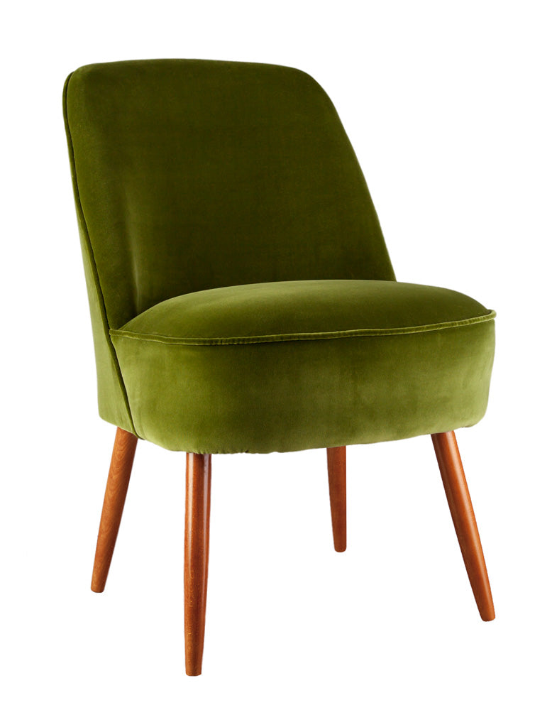 New Slipper Cocktail Chair in Olive Green Ice Velvet