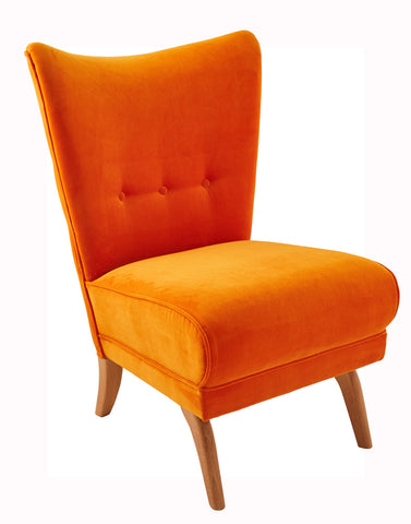 Encore Armchair in Parrot Orange Omega Velvet