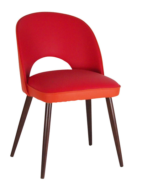 New Fernandina Desk and Dining Chair in Red and Orange Matara Faux Leather