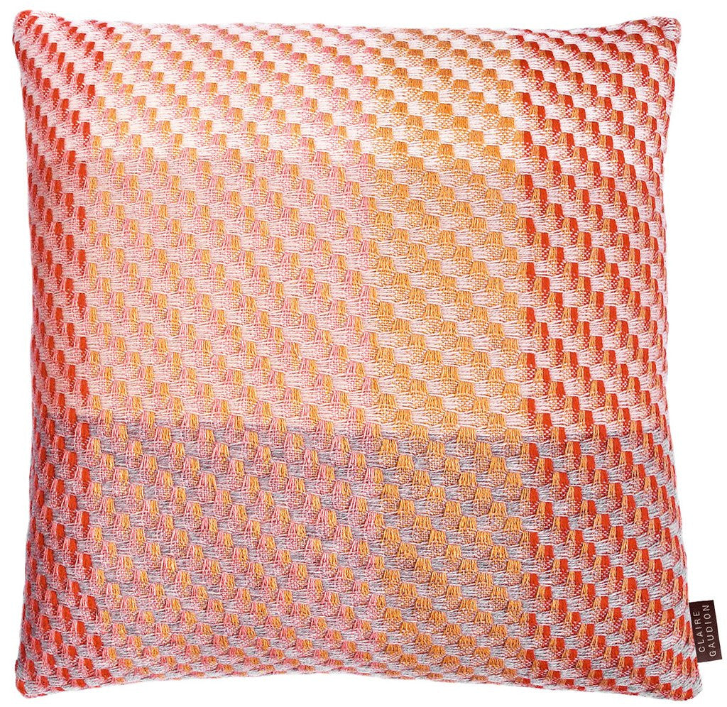 The Coral Cushion by Claire Gaudion 50% Lambswool, 25% Silk, 25% Superfine Merino- available at Galapagosdesigns.com