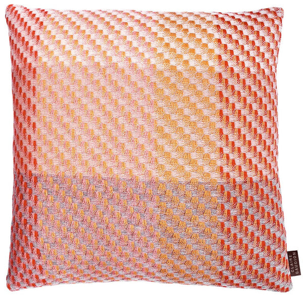 Coral Cushion by Claire Gaudion (50% Lambswool, 25% Silk & 25% Superfine Merino) available at GalapagosDesigns.com