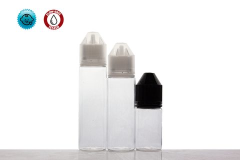 PET V3 Big Mouth Bullet Dropper Bottles- TE/CRC (100 count-Includes Caps & Tips)