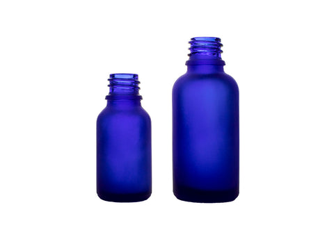 Frosted Blue Euro Round Glass BOTTLES ONLY