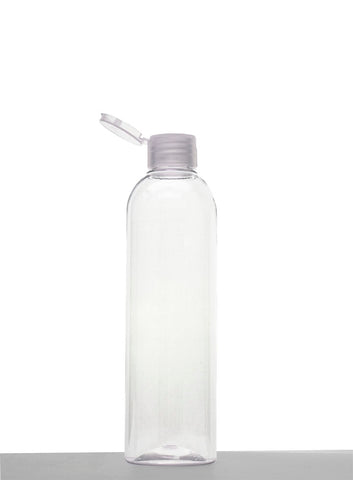8 oz clear PET Cosmo Round Bottle 24-410 with Flip Top Cap (100 QTY)