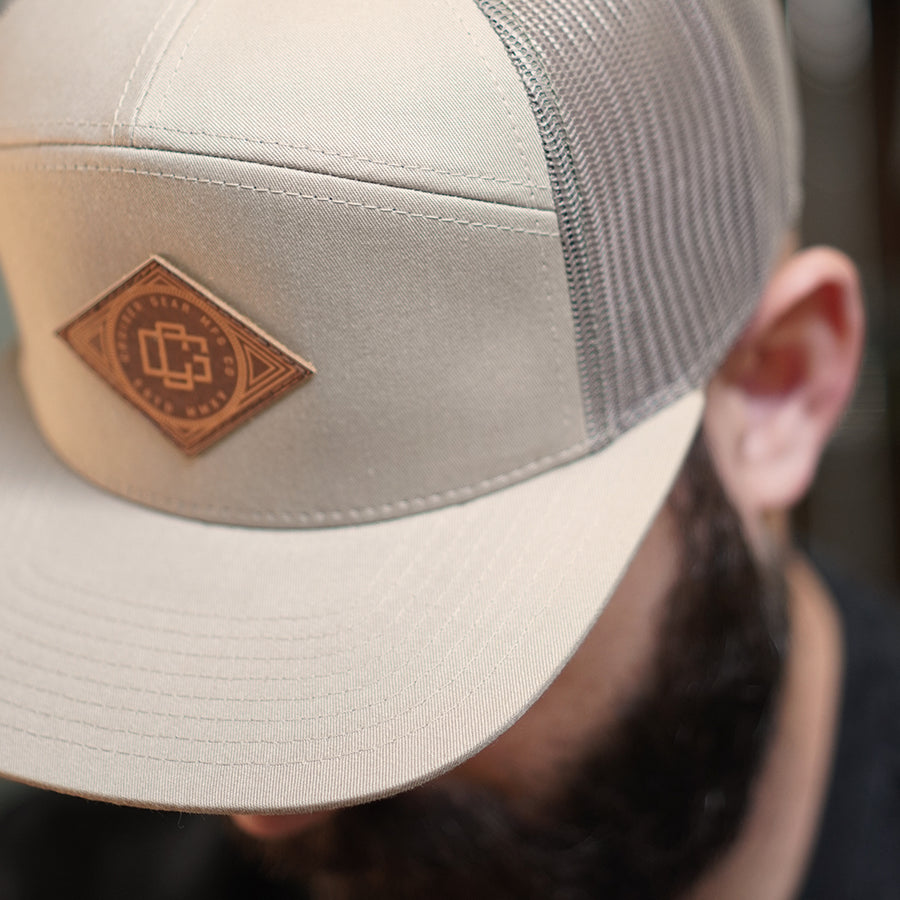 LEATHER MONOGRAM HAT - KHAKI