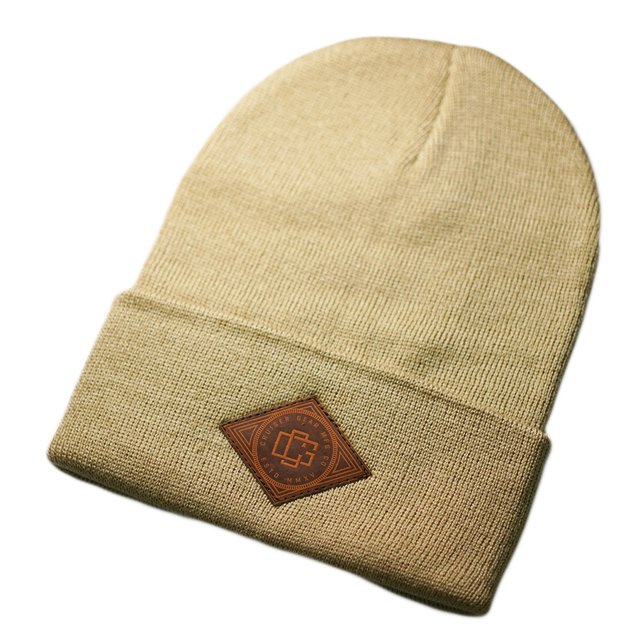 LEATHER STAMP BEANIE - KHAKI