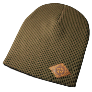 LEATHER STAMP BEANIE - OLIVE