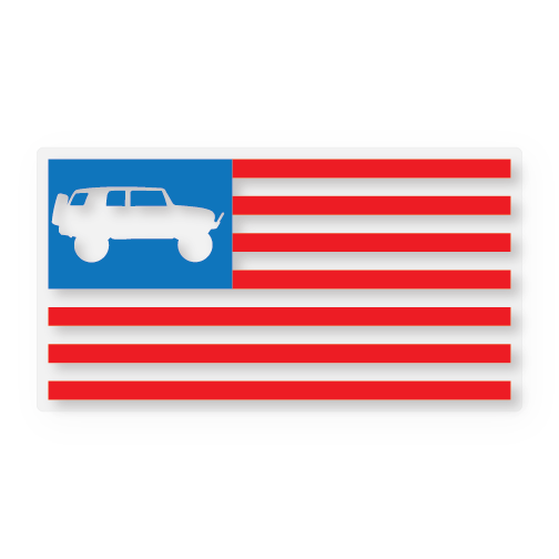 FJ Flag Red/Clear/Blue (STICKER)