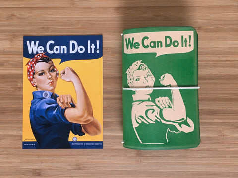Rosie the Riveter We Can Do It handmade leather notebook from Red Pen Travelers