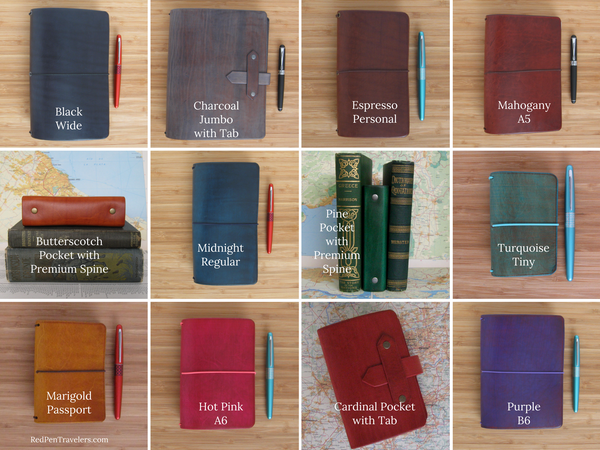 Travelers notebook sizes: Wide, Jumbo, Personal, A5, Pocket, Regular, Pocket, Tiny, Passport, A6, Pocket, B6.
