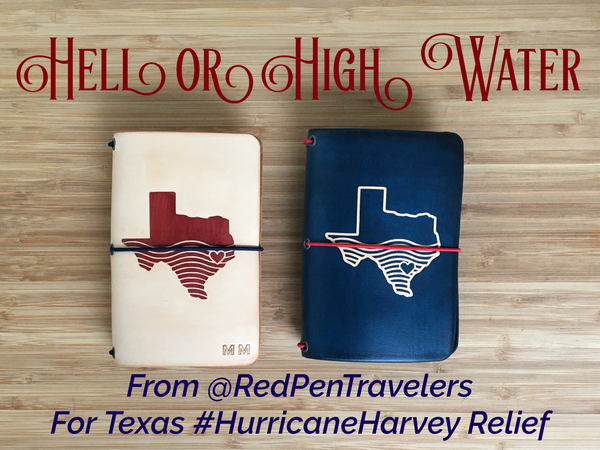 "Undyed travelers notebook with shape of Texas half covered by water dyed into the cover in mahogany. Midnight travelers notebook with the shape of Texas half covered in water dyed into the cover. Caption: ""Hell or High Water""."