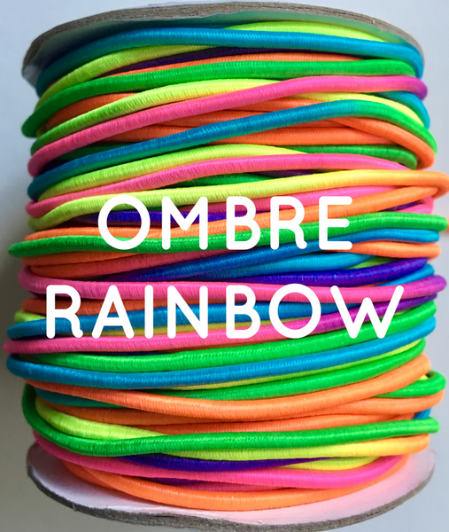 Ombre rainbow elastic cord (variegated including aqua, yellow, light orange, hot pink, purple, and lime green).