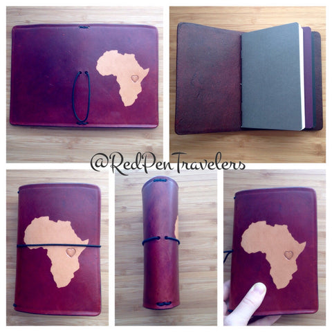 Five views of a mahogany travelers notebook with the shape of Africa dyed into the cover.