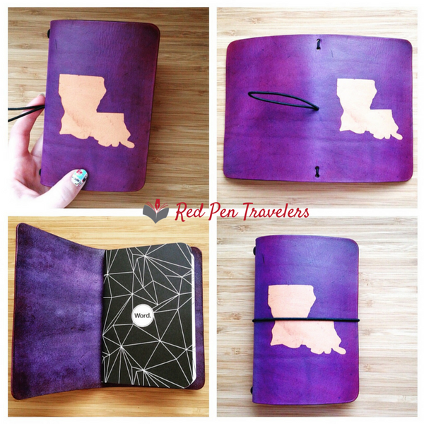 Four different shots of a purple travelers notebook with the shape of Louisiana dyed into the cover.