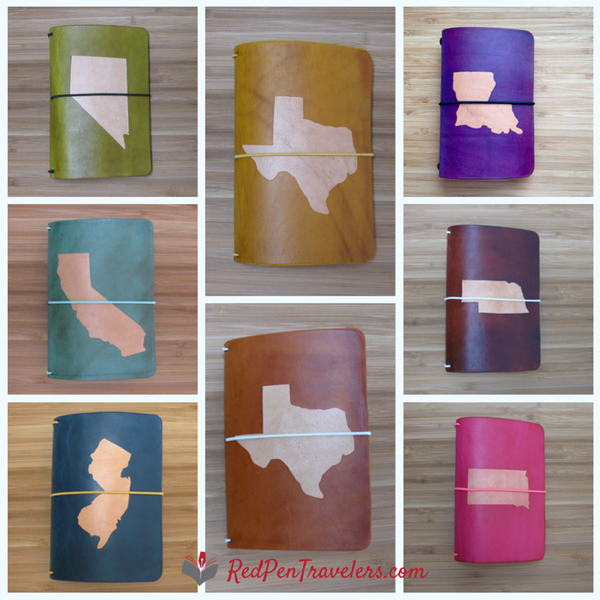 Travelers notebooks with the shapes of Nevada, California, New Jersey, Texas, Texas, Louisiana, Nebraska, and Kansas dyed into the covers.