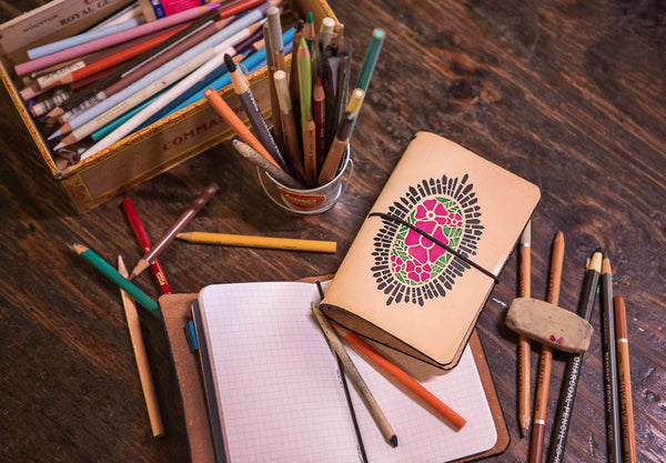 Hot Pink Cathedral Rose travelers notebook with pencils and sketchbook.