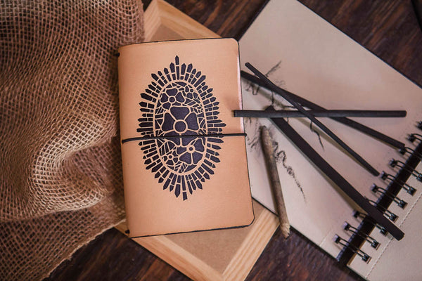 Black Cathedral Rose travelers notebook with pencils and planner.