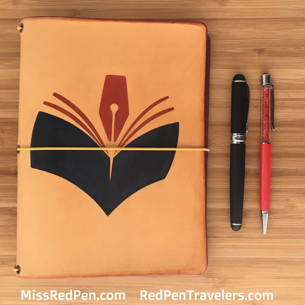 Red Pen Travelers Customized Logo Leather Traveler's Notebook