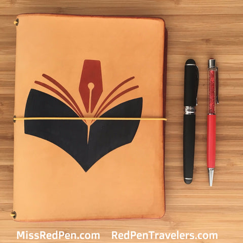 Red Pen Travelers Customized Logo Leather Traveler's Notebook, shown with a black pen and a pink pen.