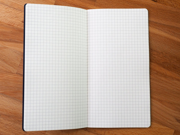 Enlarged view of graph paper inside the Tomoe River travelers notebook inserts.