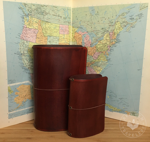 DUO SET: Two Matching Solid Color Leather Traveler's Notebooks