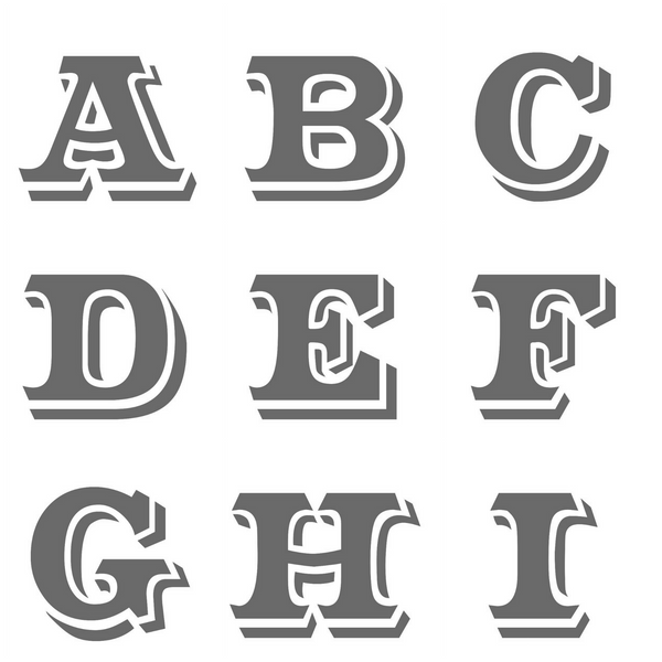 Samples of letters A B C D E F G H I
