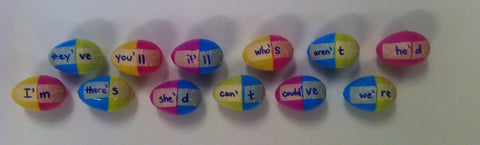 Convert your plastic Easter eggs into a fun and easy elementary ELA center!  Learn how we created this contractions game at Games4Gains.com!