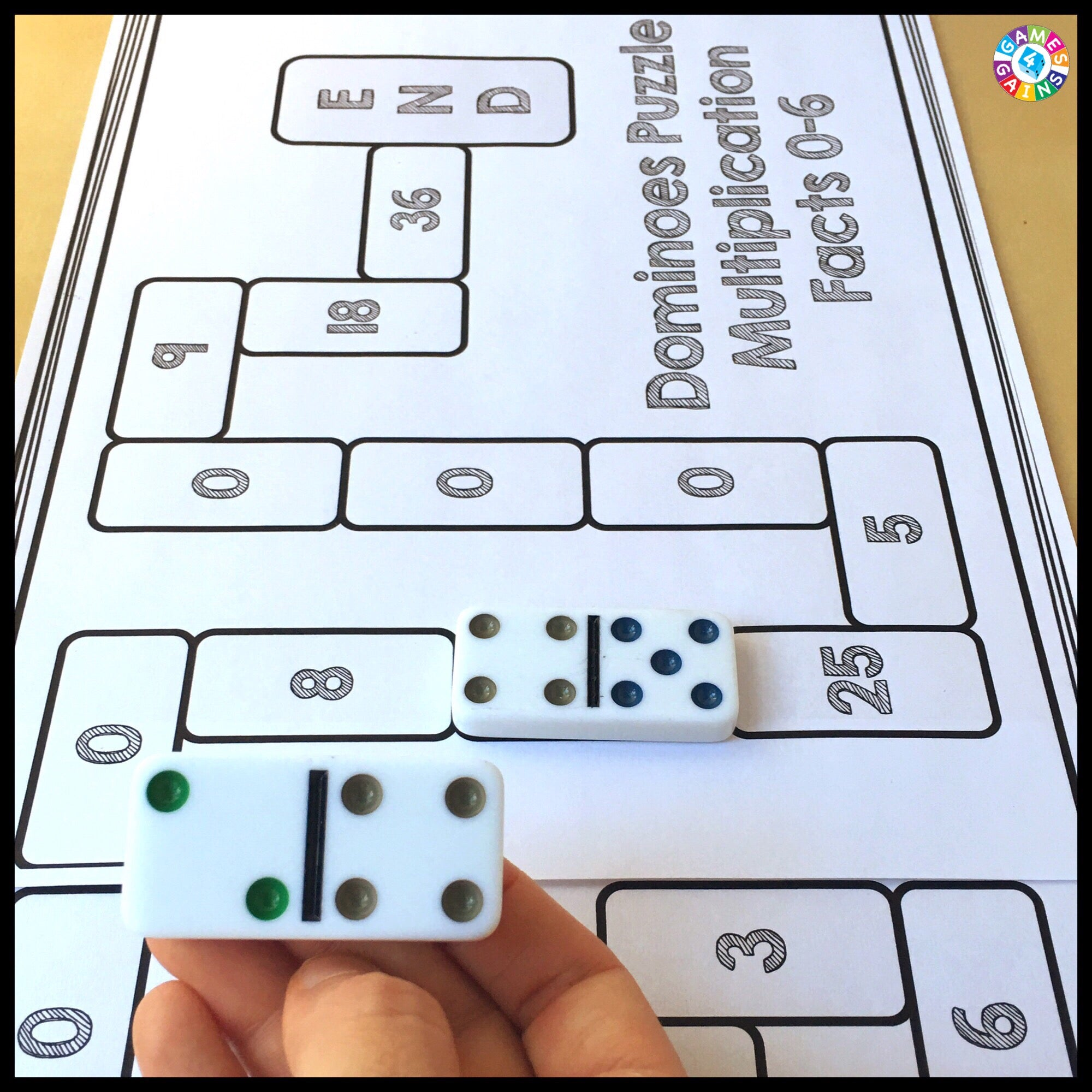 Use Basic Facts To Solve These Dominoes Math Puzzles Games 4 Gains