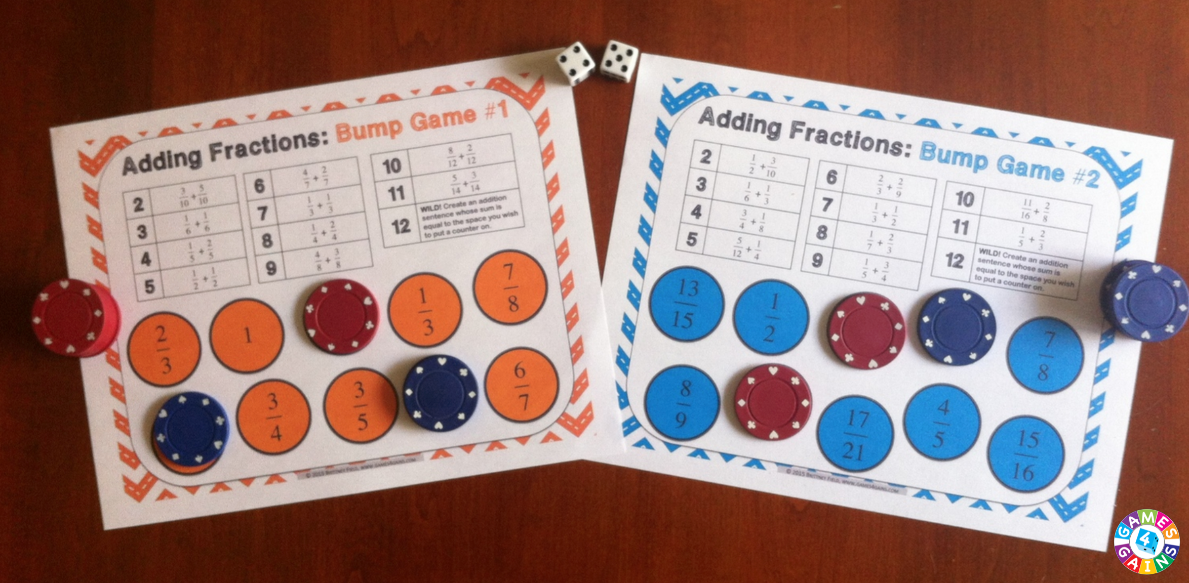 These free adding and subtracting fractions bump games are so simple to use, and take a minimal amount of prep. Simply print out the game sheet, get 2 dice, and 20 counters, and you'll be ready to go!