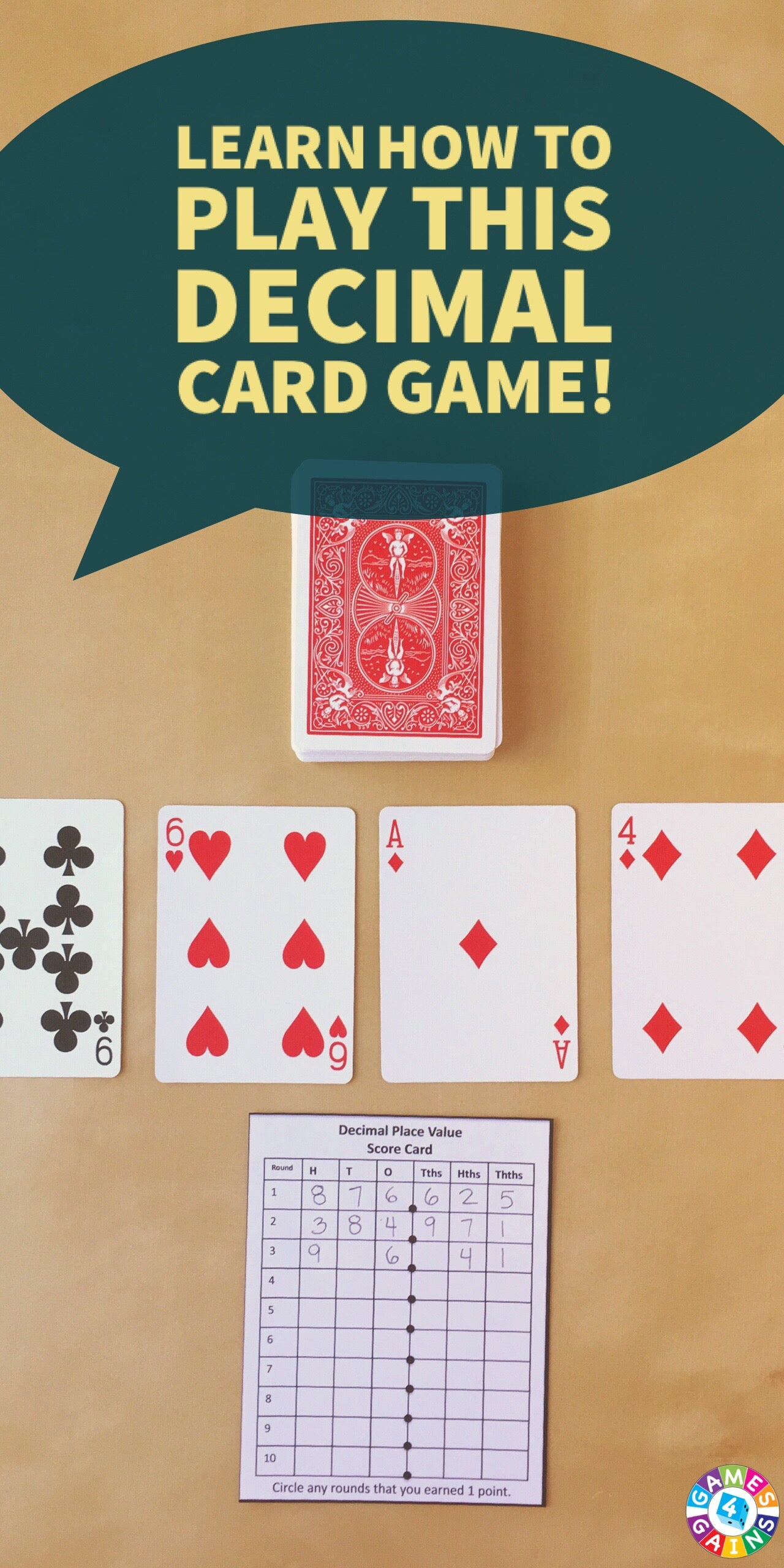 Decimal Place Value With Playing Cards Games 4 Gains