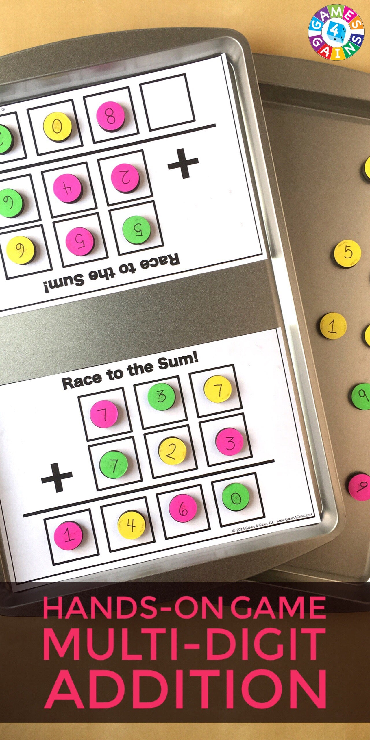 worksheet Multi Digit Addition race to the sum a multi digit addition game games 4 gains looking for other fun ways practice in your math centers check out these and activities our sto