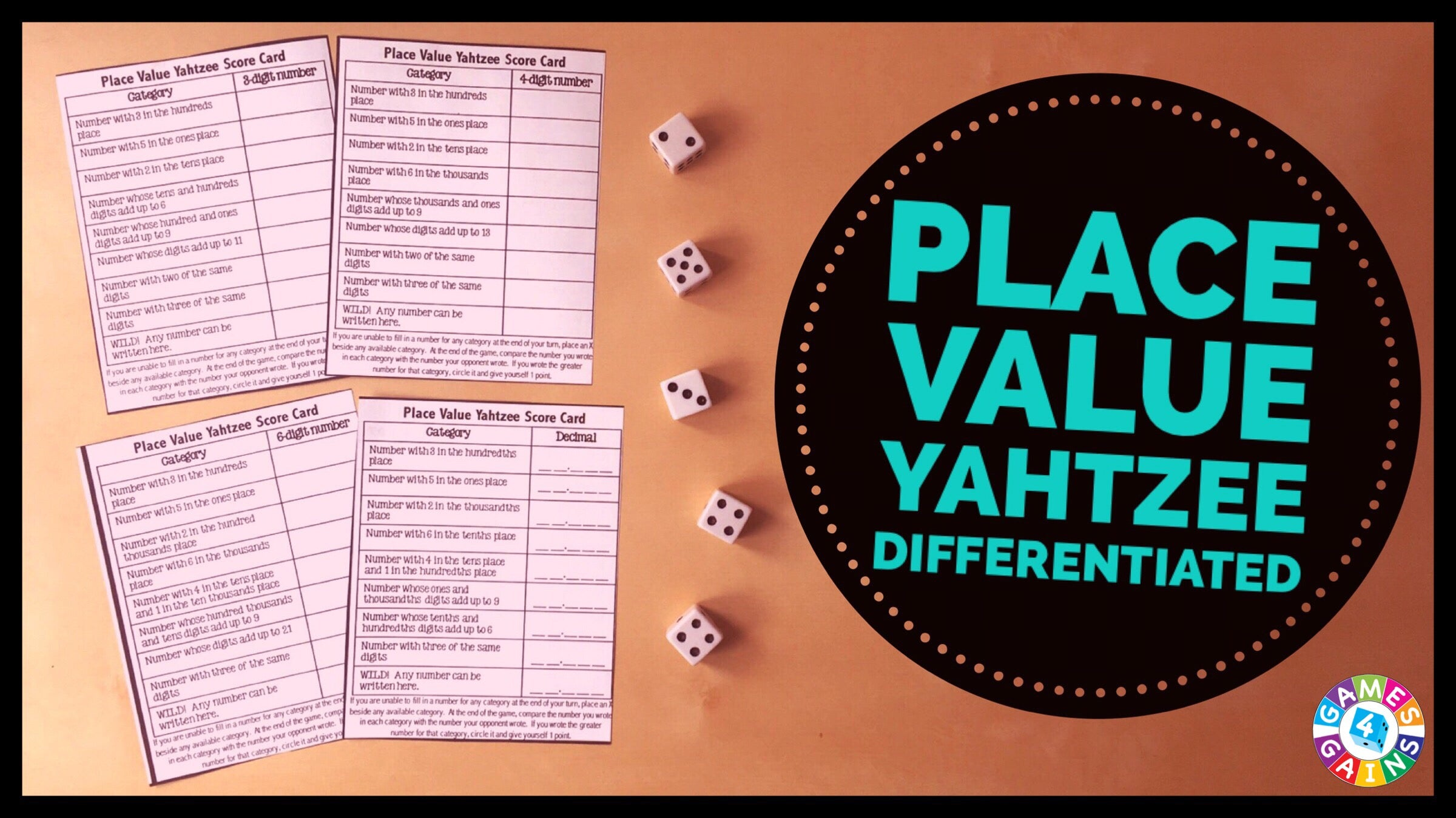 Game Of Love Sheets score some points with place value yahtzee! – games 4 gains