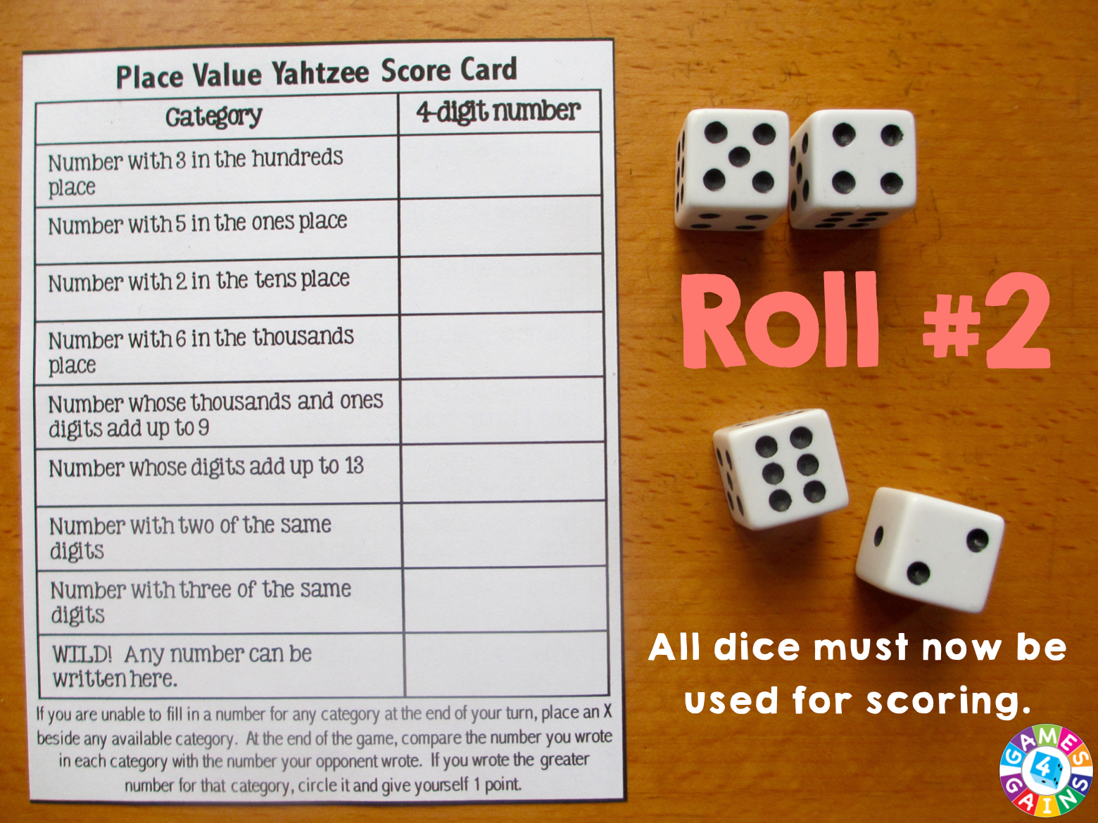 Place Value Yahtzee Roll 2