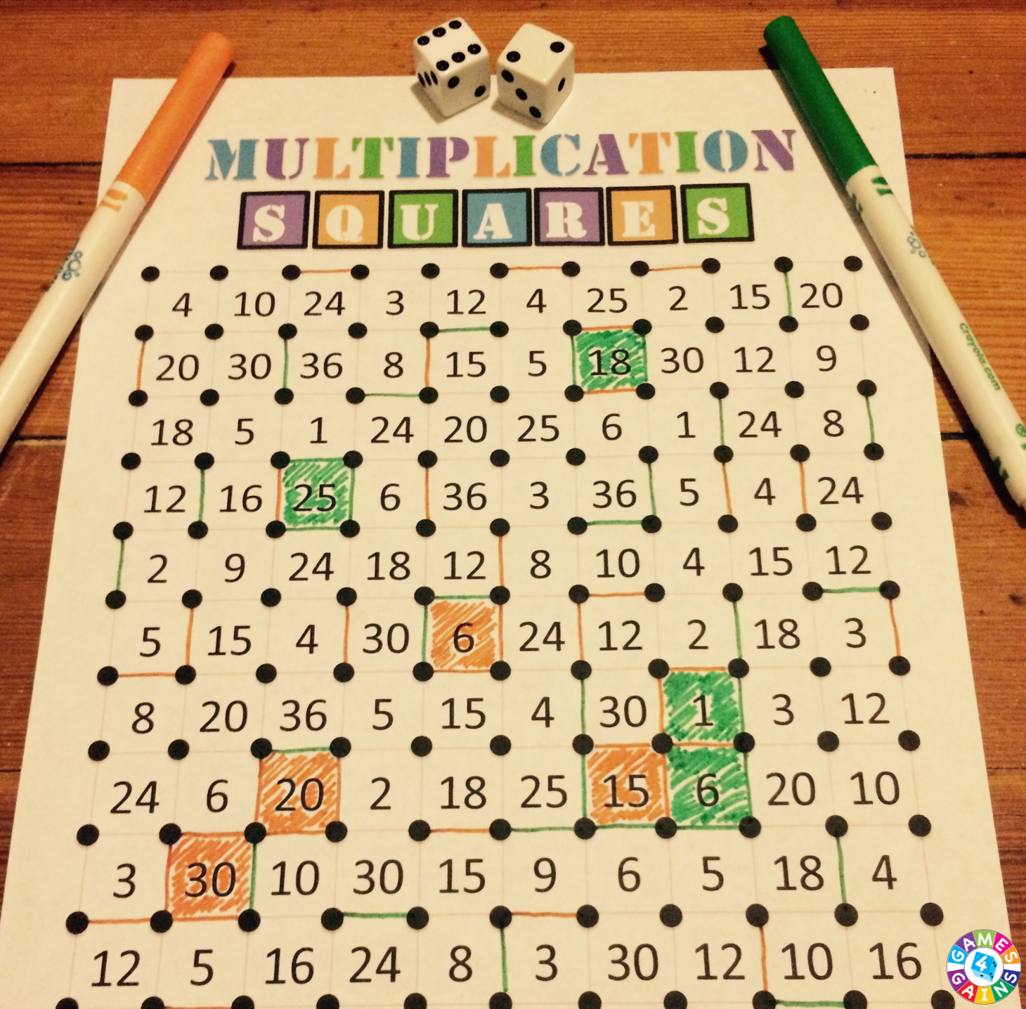 Weve Mathified The Squares Game Games 4 Gains – Multiplication Worksheet Games