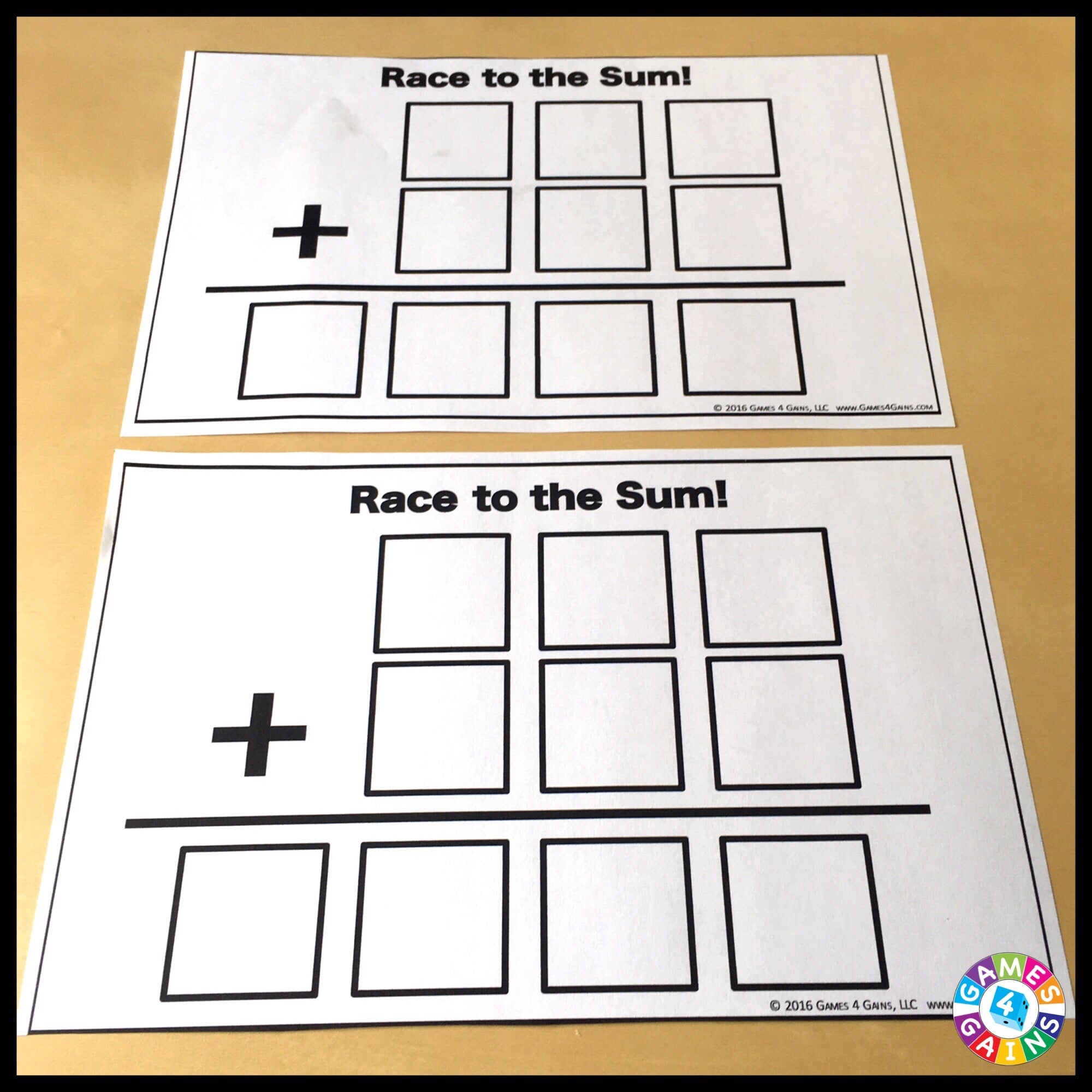 worksheet Multi Digit Addition race to the sum a multi digit addition game games 4 gains 2