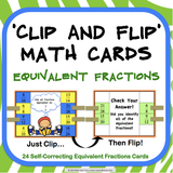 Equivalent Fractions Clip and Flip Cards