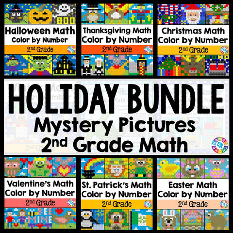 2nd Grade Math Color-by-Number Holiday Bundle - Games 4 Gains