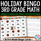 Christmas Math Bingo Game - 3rd Grade - Games 4 Gains  - 1