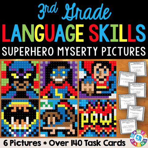 3rd Grade Language Skills Superhero Mystery Pictures - Games 4 Gains  - 1