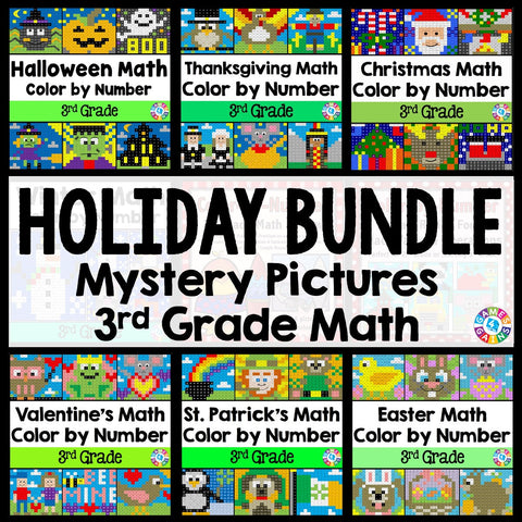 3rd Grade Math Color-by-Number Holiday Bundle - Games 4 Gains