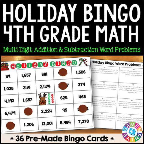 Christmas Math Bingo Game - 4th Grade - Games 4 Gains  - 1