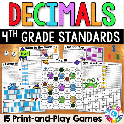 4th Grade Decimals Games Pack - Games 4 Gains  - 1
