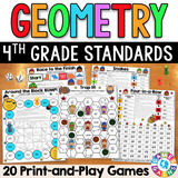 4th Grade Geometry Games Pack