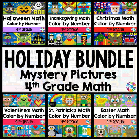 4th Grade Math Color-by-Number Holiday Bundle - Games 4 Gains
